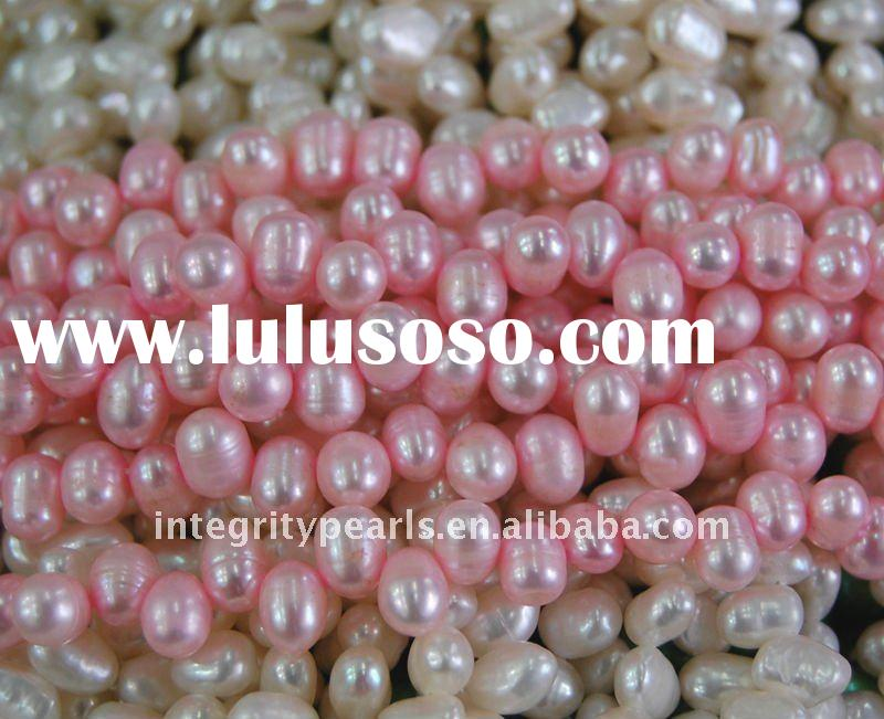 Top Drilled Rice Shape Freshwater Pearl Strands PLR059