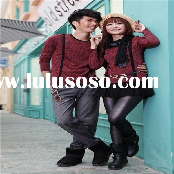 2011 designer autumn Korean fashion O-neck & long-sleeve couple t-shirt with leopard lines