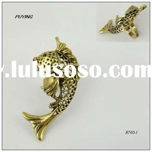 Chic Fish Gold Alloy Ring, Fashion Jewelry