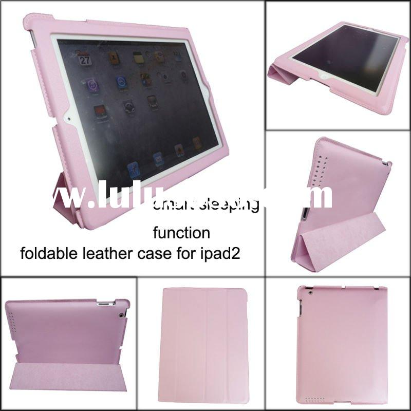 Pink foldable leather smart cover case for ipad2, MOQ:300pcs wholesale