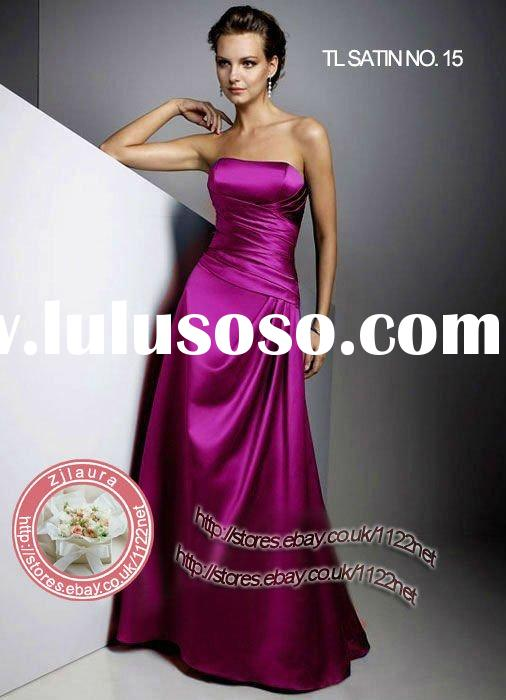 Quality strapless full-length bridesmaid dress / evening dress with ruching and pleating - various c
