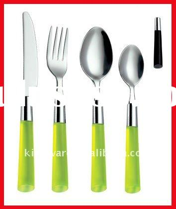 Stainless steel cutlery set with plastic handle