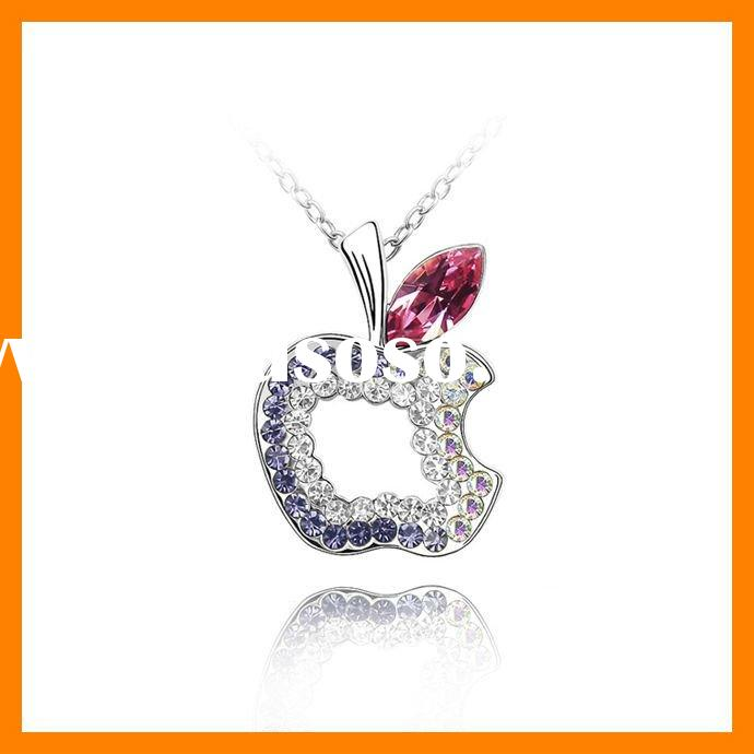 Xmas gift Apple shaped Crystal Necklaces