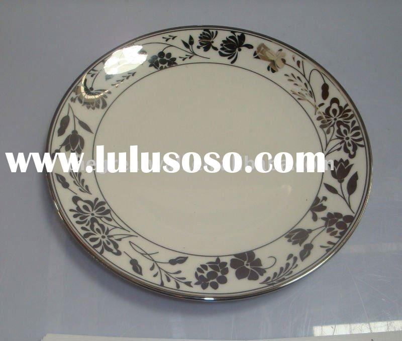 Electroplating Decal Round Porcelain Plate