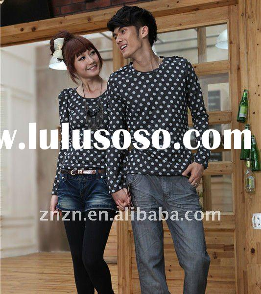 New Korean stylish fashion long-sleeve dots printed lover t-shirt