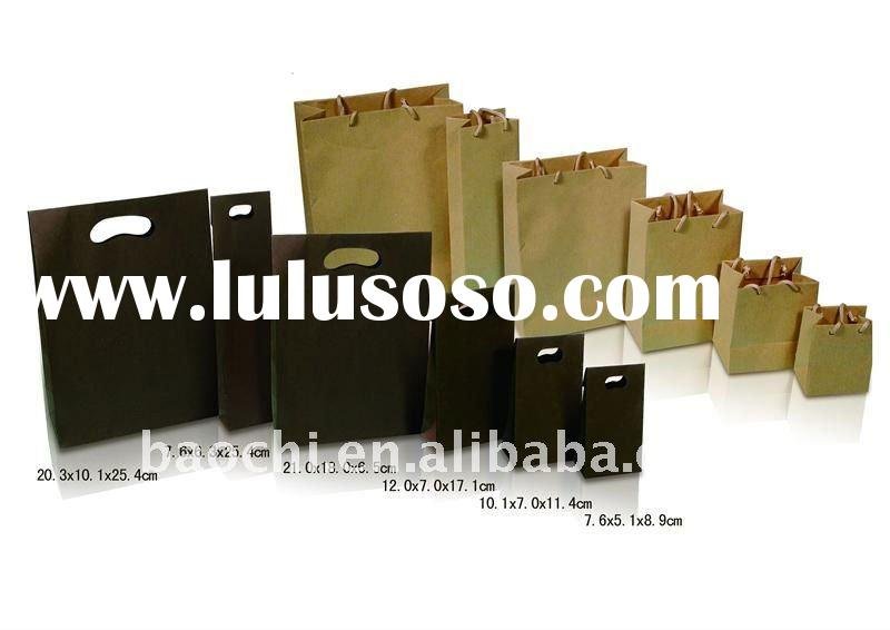 Flat handle brown kraft paper bags