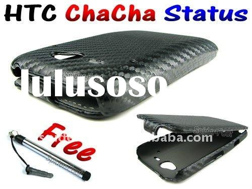 Carbon Fiber Flip Leather Mobile Phone Case for HTC Status ChaCha A810e