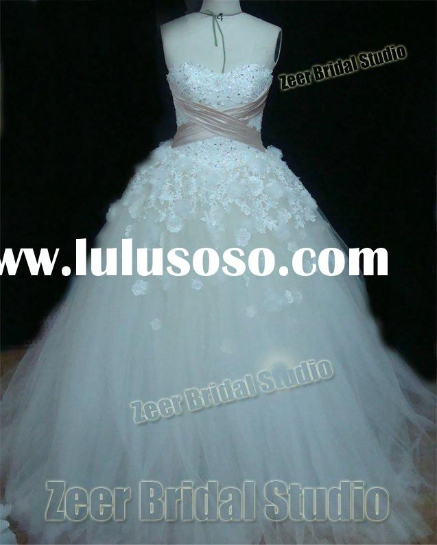 Classic applique beads ball gown luxury bridal gown/ zeer factory High quality custom made cheap Wed