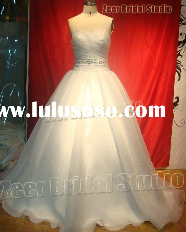 Classic beads organza ball gown bridal gown/ zeer factory High quality custom made sweetheart Weddin