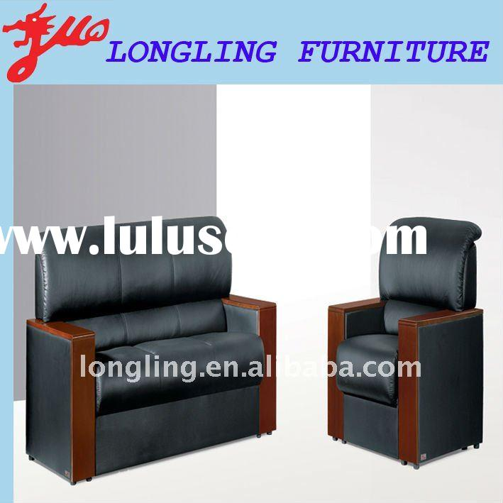 L-302 black leather sofa with wooden frame excellent quality