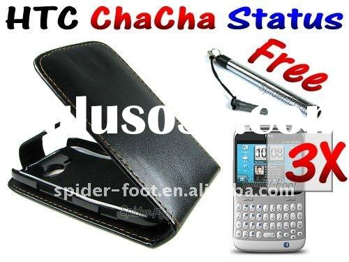 Leather Flip Case+Protector+Stylus for HTC Status ChaCha A810e