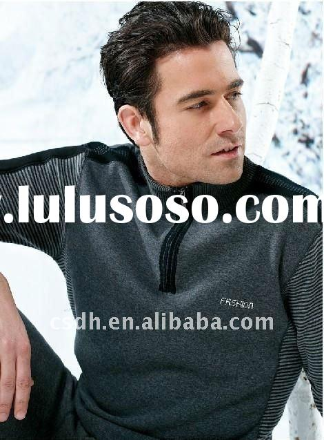 Modal diamond charcoal wool cashmere men's XXL thermal underwear set