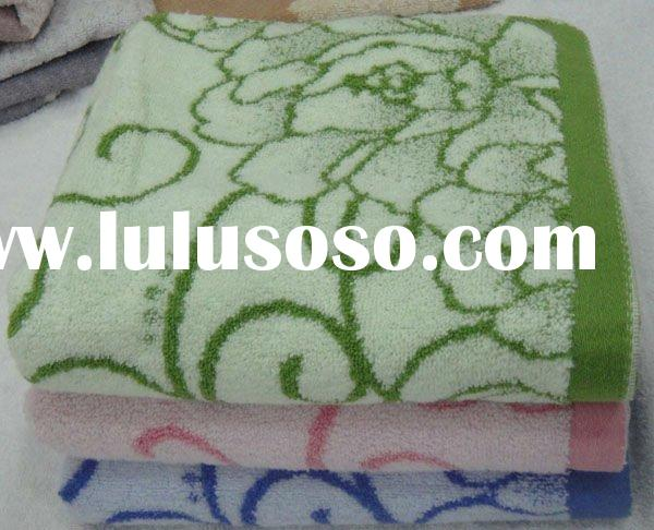 cotton yarn dyed face jacquard  towel with embroidery