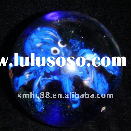 Christmas  glass ball paperweight gift with octopus
