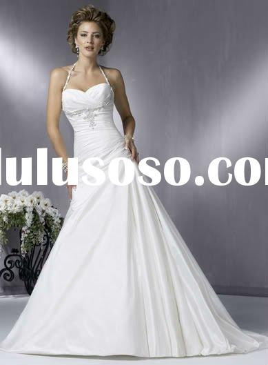 White Taffeta Halter Spaghetti Strap Wedding dress Evening dress Formal  gown WJ0033