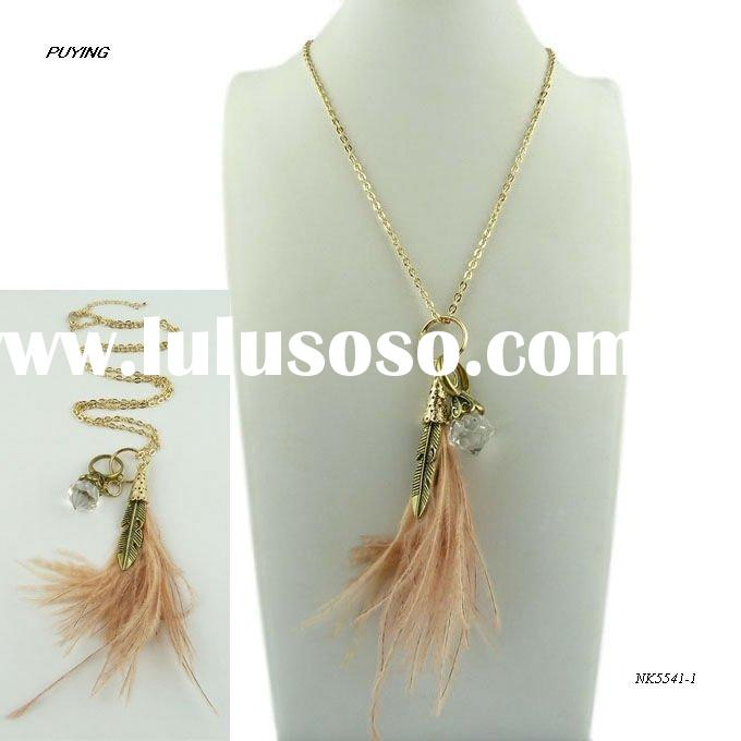 Charm Feather Link Chain Alloy Pendant Necklace, Fashion Women Accessory