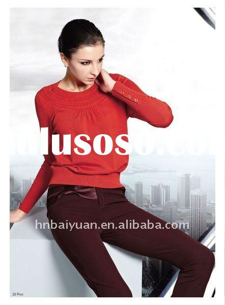 New Arrival Red 100%Cotton Designer Knitwear for Women with Round Collar