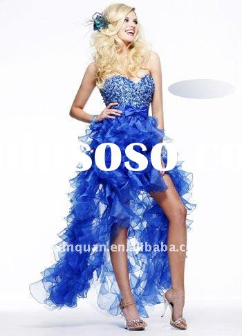 SHG718 Fashion 2012 sweetheart sequins and crystal beaded front short back long ruffle skirt blue la