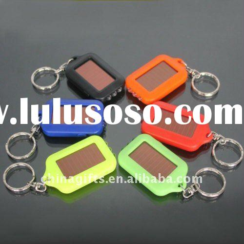 Solar Power rechargeable 3LED Flashlight Keychain,Mini Flashing Keychain