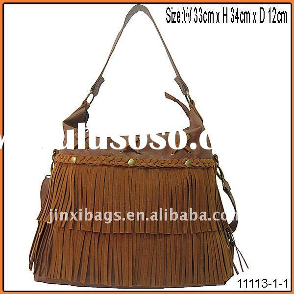 Yiwu China 2011 latest design velvet tassel lady handbag