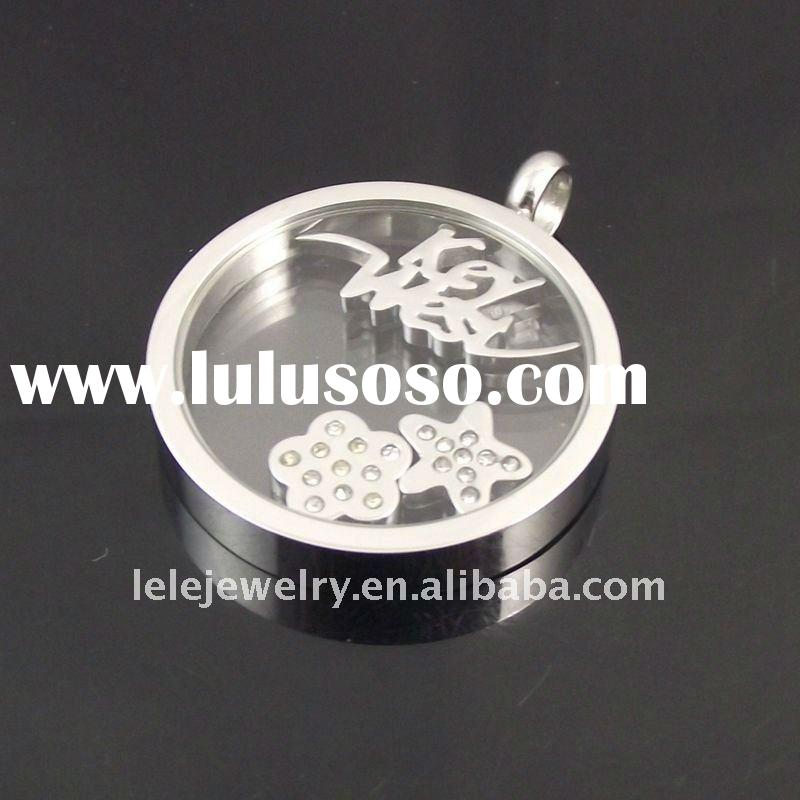 fashion round stainless steel metal pendant with star and flower