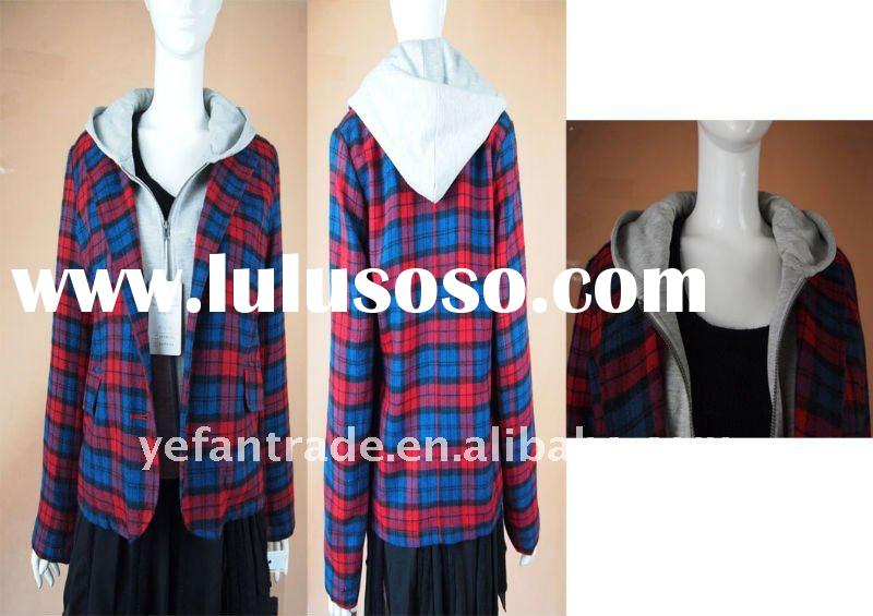 ladies wool coat   fall new arriving jersy hood adorn drawstring