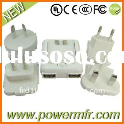 universal 2USB Changeable plug travel charger