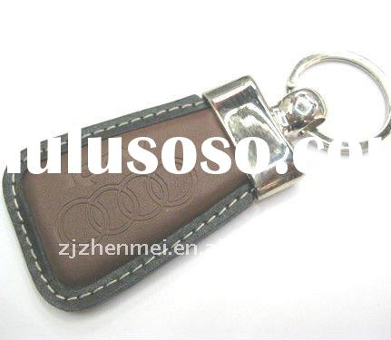 Fashion embossed leather car keychain for promotion ZM-PG056.
