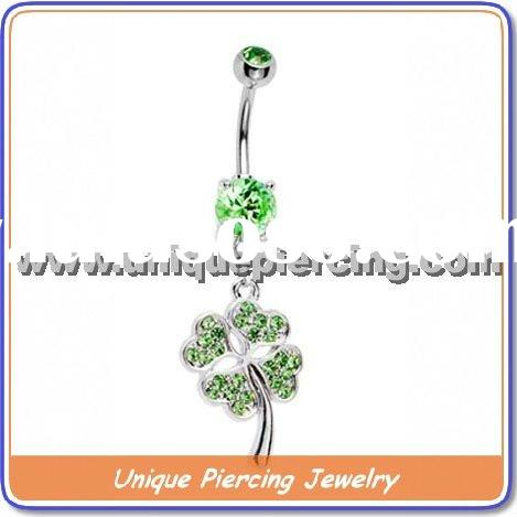 Gem with flower 316L steel body piercing navel ring (U6971)