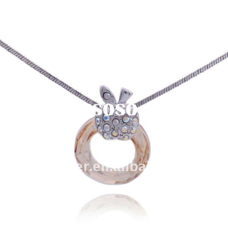 High quality,925 silver Apple circle Austria Crystal Pendant necklace