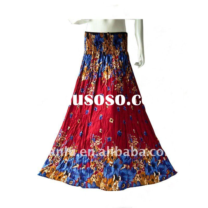 Lady fashion long skirt -chiffon printed dress