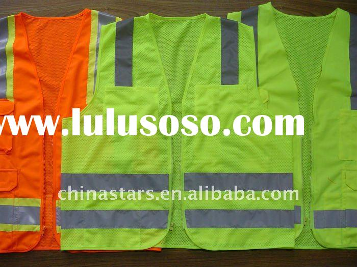 Mesh reflective vest in yellow or orange color, ANSI/ISEA 107-2010 Class 2 certified