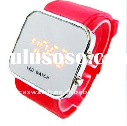 fashion square mirror face led watch round dial silicone rubber strap band led watch