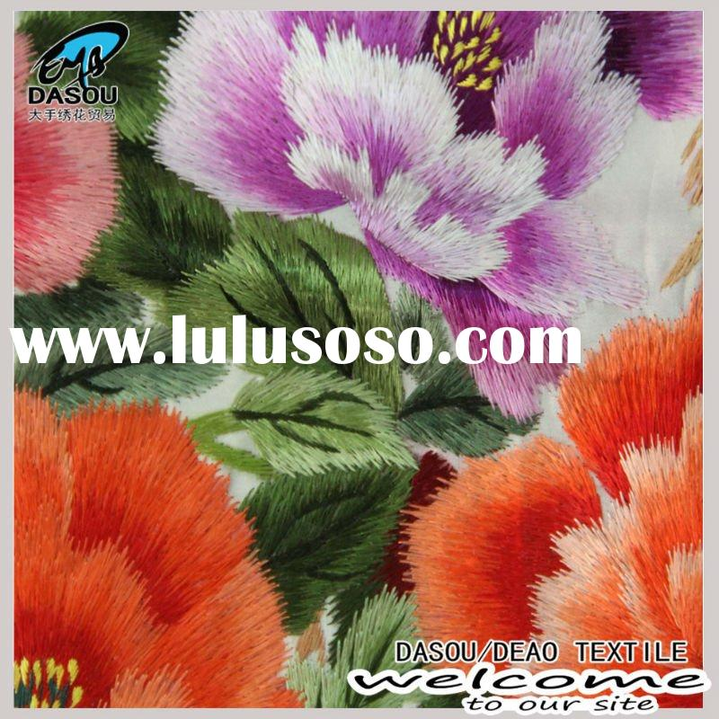 hand embroidery fabric on satin