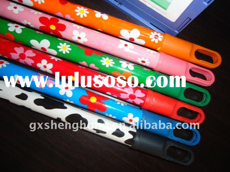 Fashion flower PVC coated wooden broom stick