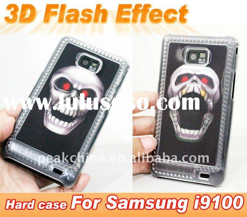 For Samsung Galaxy S2 I9100 Case 3D Flash Effect Hard Cover Case (Skull)