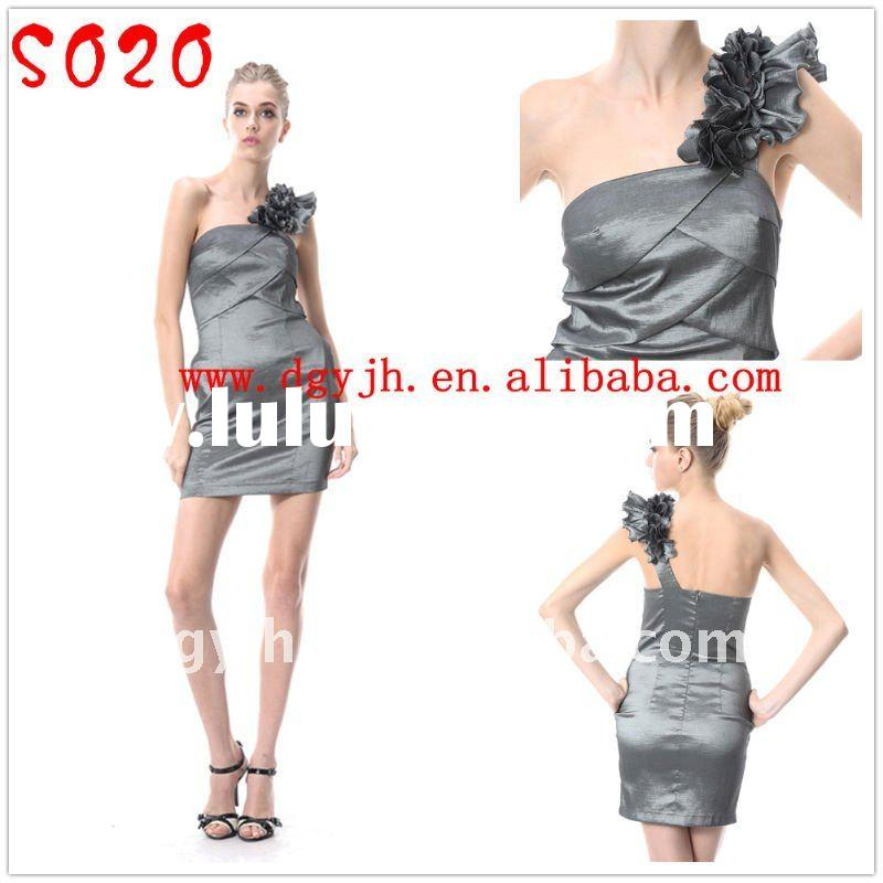 Taffeta one shoulder short evening dress 2011 S020