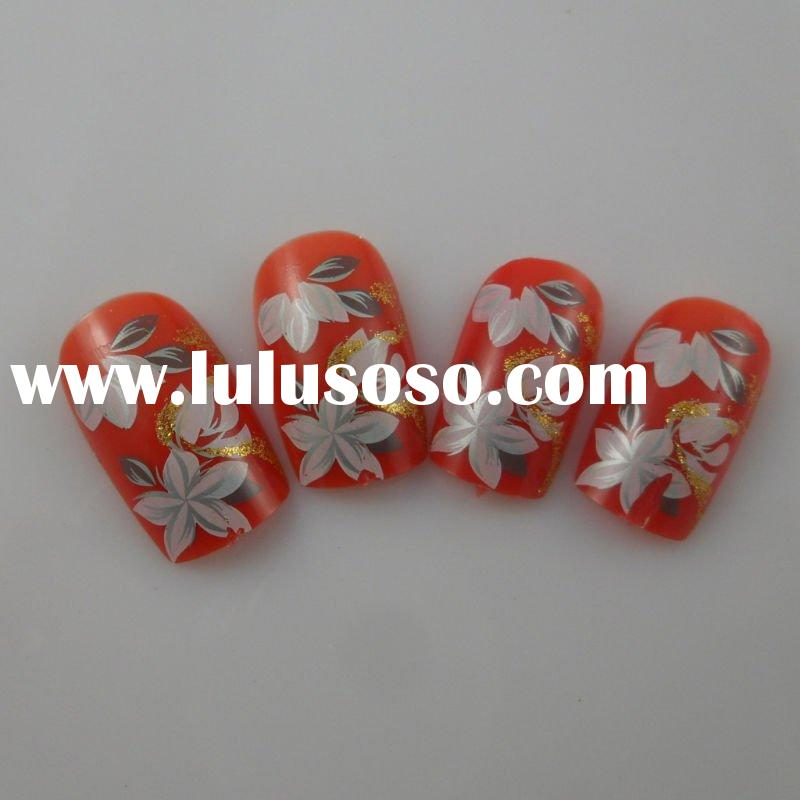 12/24PCS ABS NAIL TIPS, AIRBRUSH PRINTED NAILS, WITH GLUE