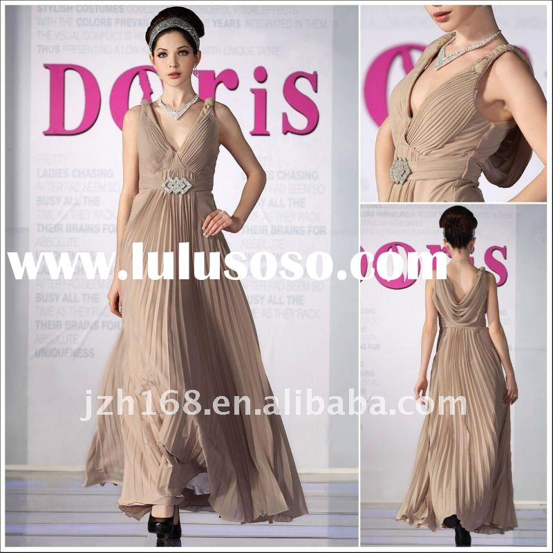 JUN&HUA 2012 elegant brown long gorgeous style  V-neck  Accept waist Star evening dress Doris 30