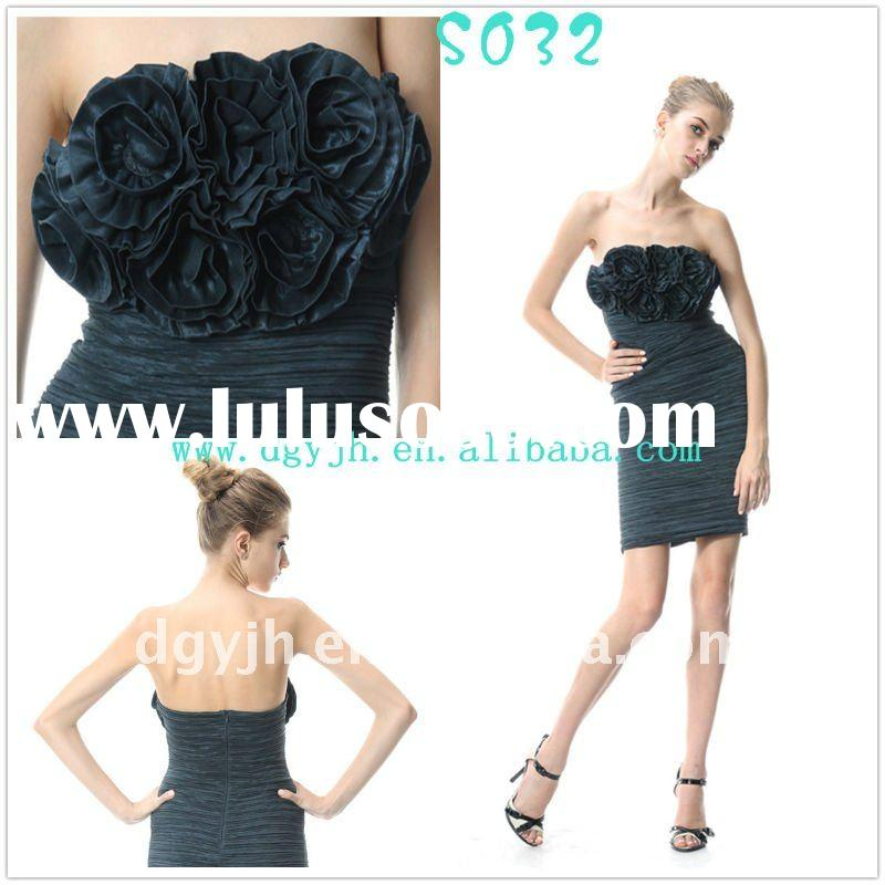 Strapless elegant evening dress short S032