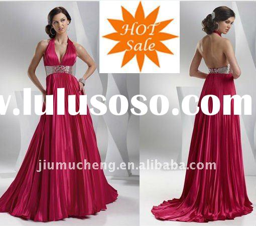 Wholesale 2011 Hot Sale Halter Beaded Satin Evening Dress
