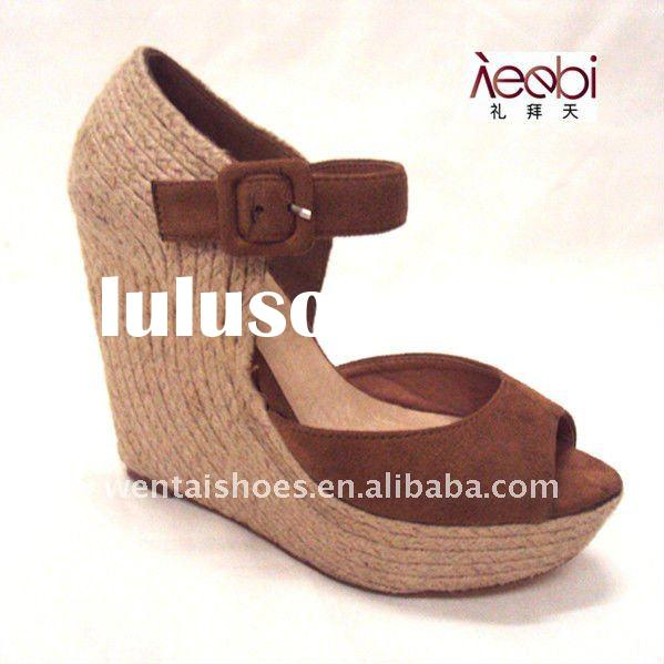 high heel fashion jute sandals for ladies