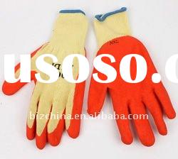 21's red  latex rubber yellow yarn gloves