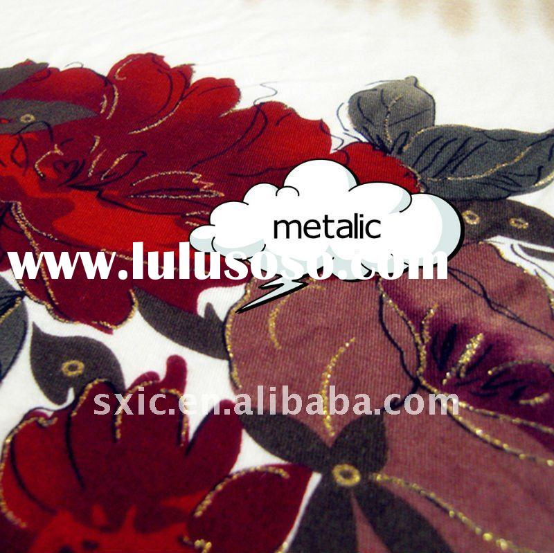 95% Rayon 5% Spandex printed Knitted Fabric with metalic/rayon spandex jersey printing fabric