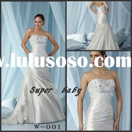 2011 new elegant applique beaded lace Strapless wedding dresses