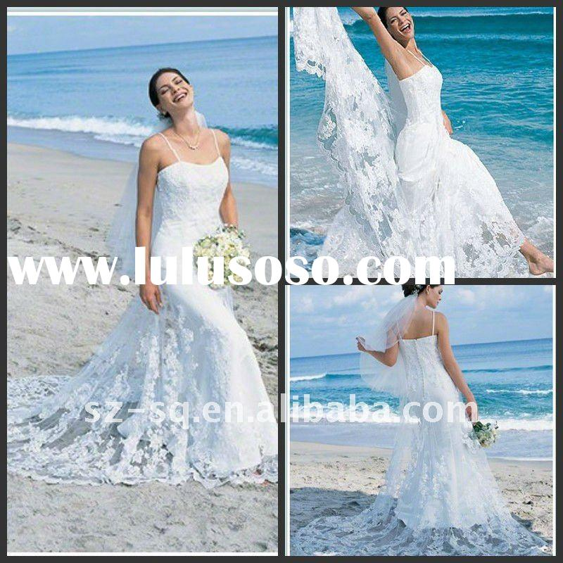Beach Casual Trailing A-Line Spaghetti Strap   Wedding Dress