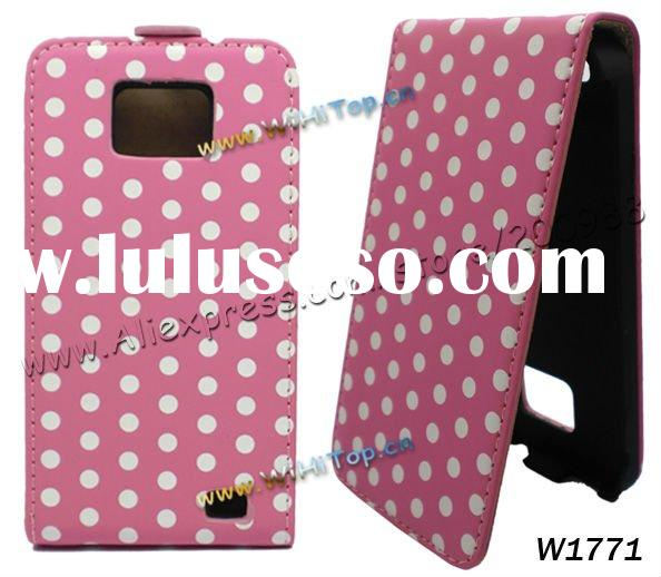 Dot Pattern Vertical Flip Leather Case Cover with Magnetic Closure For Samsung Galaxy S2 S II i9100