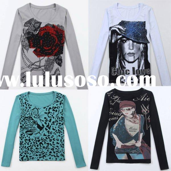 Fashion Women Digital Print Cotton T Shirt with Sequin and Beading