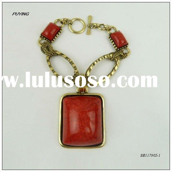 Fine Red Resin Gold Alloy Costume Bracelet, Fashion Lady Jewelry