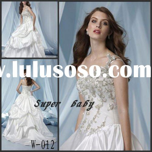 Latest design Strapless satin  W-012 Wedding dress